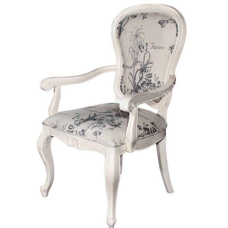 Полукресло с твердыми подлокотниками обивка с цветами Leontina, бежевого цвета | Кресло-стул Kingsby