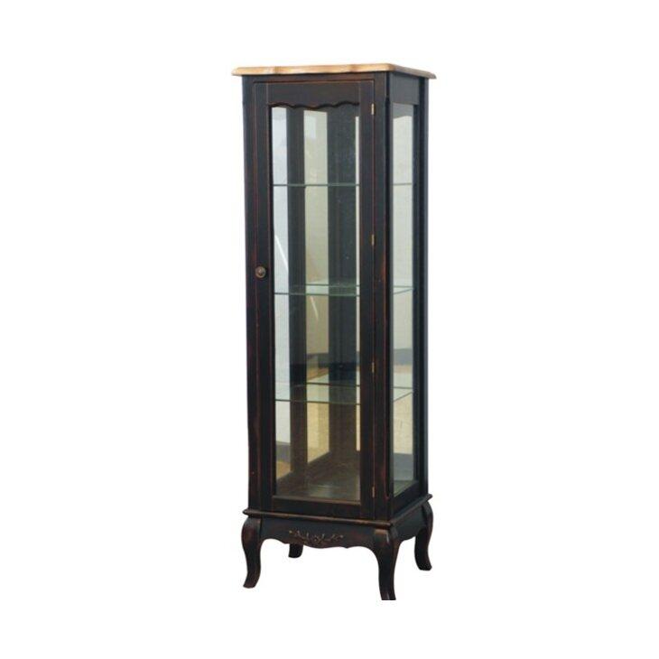 Стеклянная витрина на 4 полки (высокая) Leontina, черного цвета | Витрины Kingsby