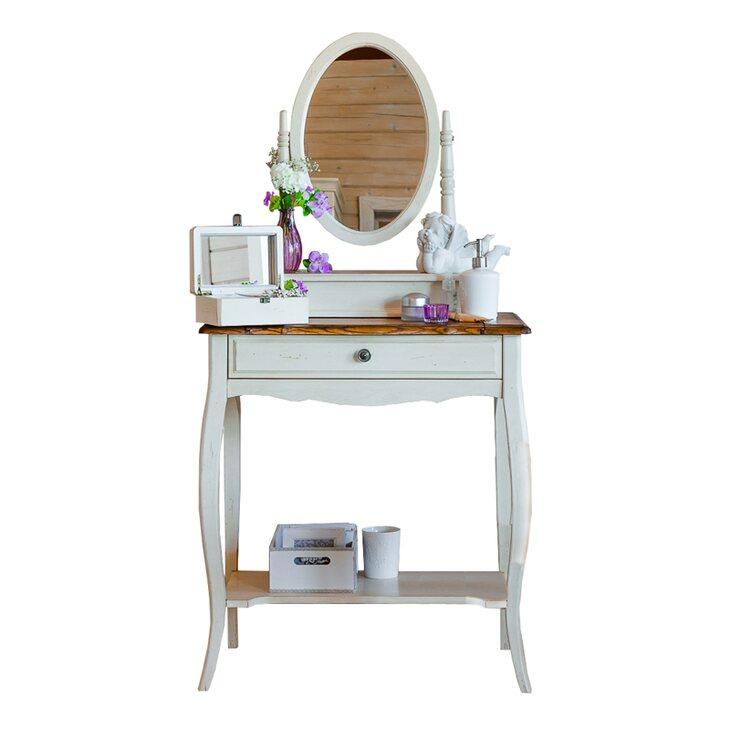Туалетный столик с овальным зеркалом Leontina, бежевого цвета | Туалетные столики Kingsby