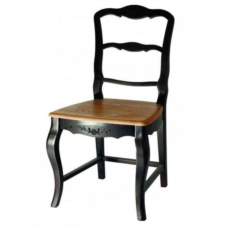 Стул с деревянным сиденьем Leontina, черного цвета | Обеденные стулья Kingsby