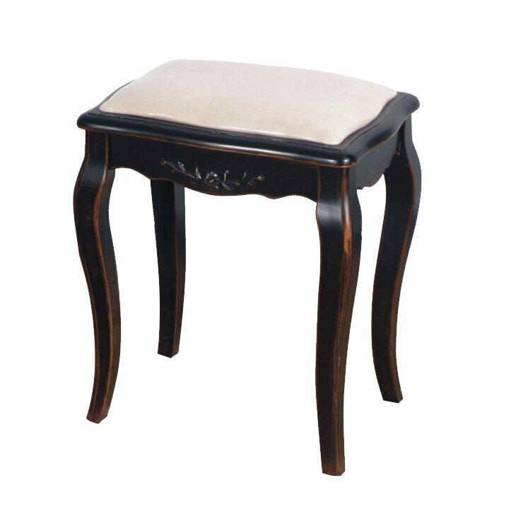 Табурет с мягким сиденьем к макияжному столику Leontina, черного цвета | Стулья Kingsby