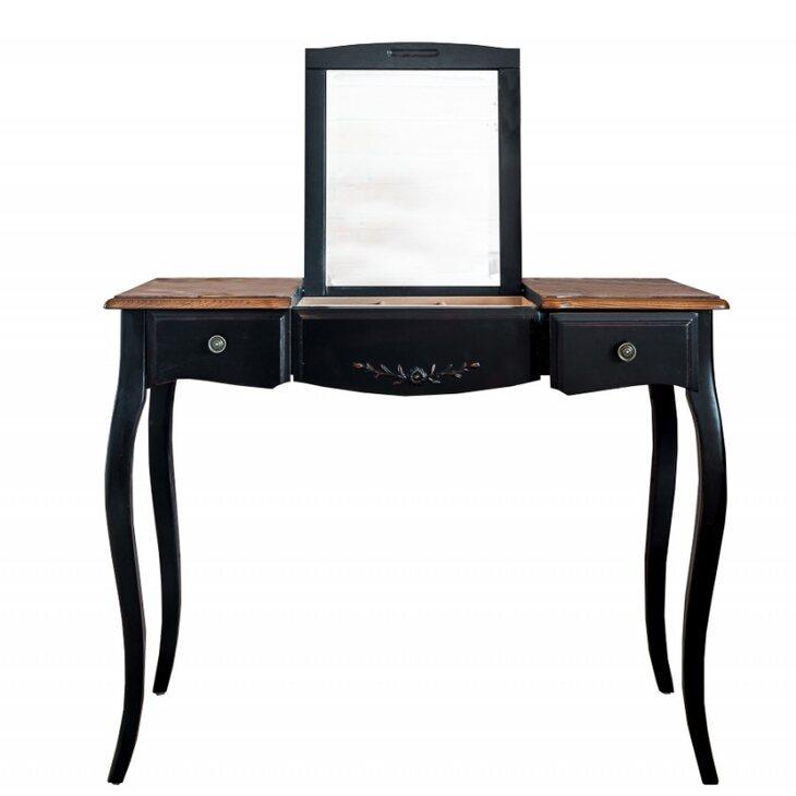 Туалетный столик с зеркалом Leontina, черного цвета | Туалетные столики Kingsby