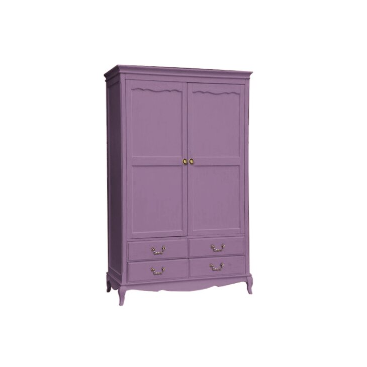 Двухстворчатый шкаф с ящиками Leontina, лавандового цвета   Платяные шкафы Kingsby