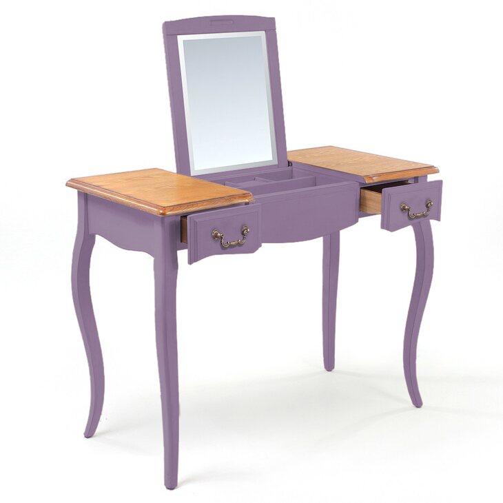 Туалетный столик с зеркалом Leontina, лавандового цвета | Туалетные столики Kingsby
