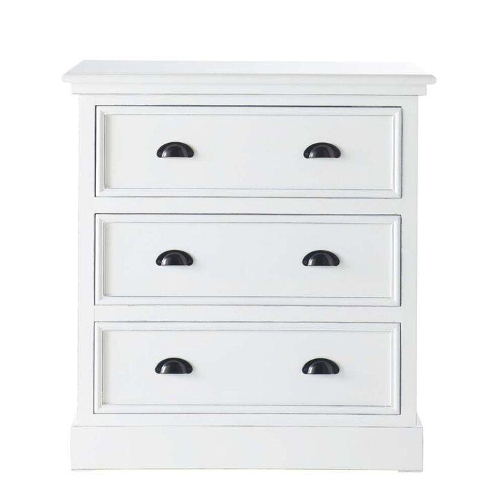 Комод малый 3 ящика Portland, белого цвета | Комоды Kingsby