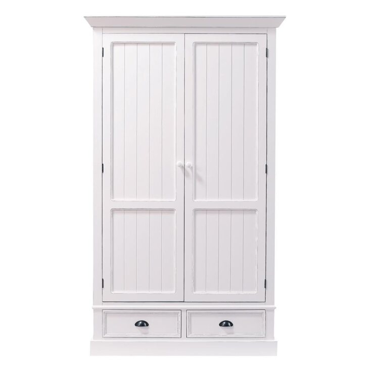 Шкаф двустворчатый Portland, белого цвета | Платяные шкафы Kingsby