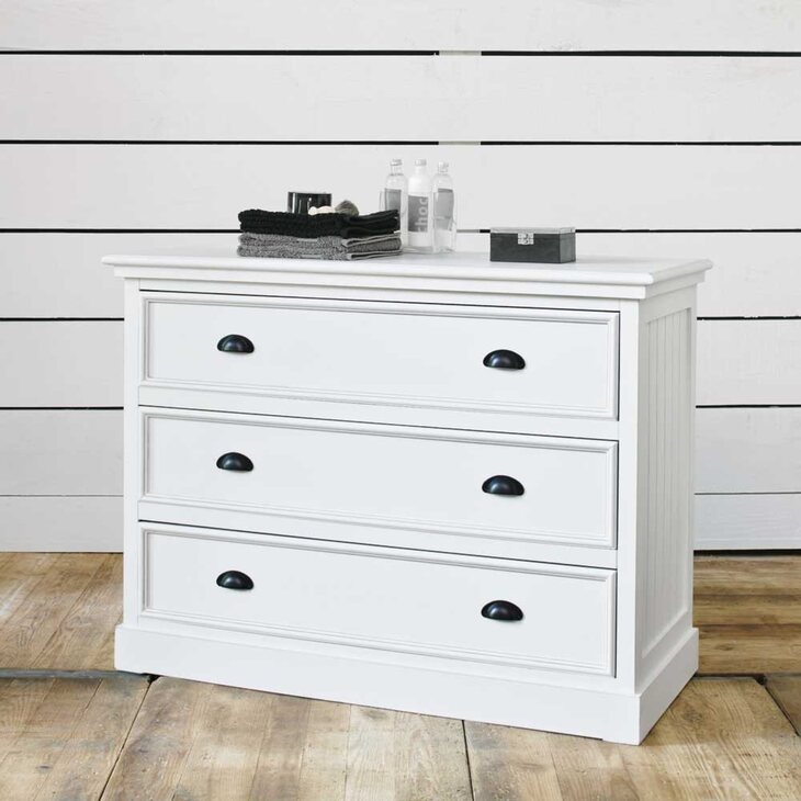 Комод 3 ящика Portland, белого цвета | Комоды Kingsby