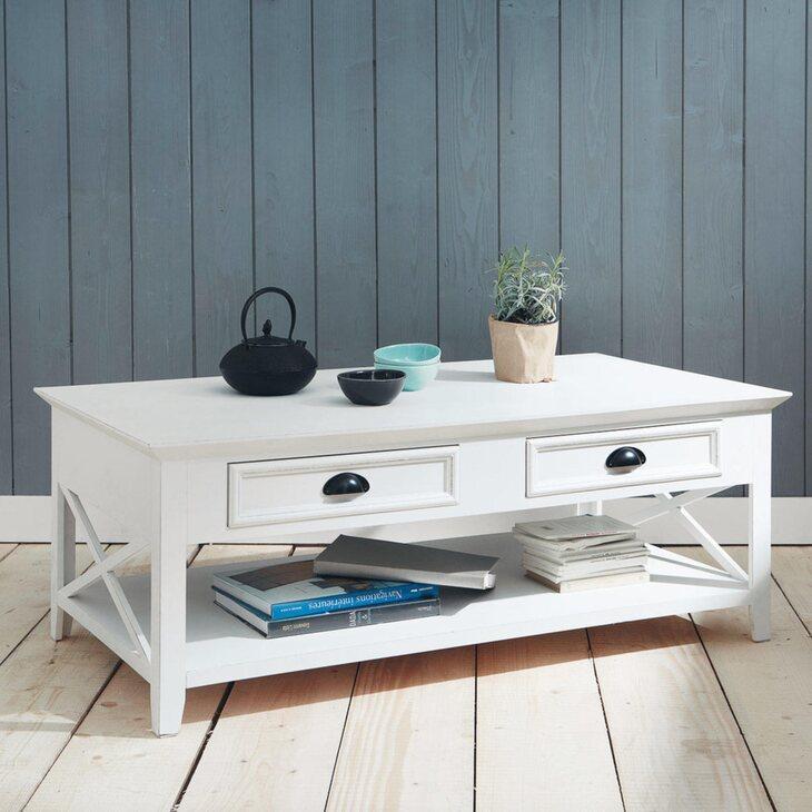 Стол журнальный с 2-я ящиками Portland, белого цвета | Журнальные столики Kingsby