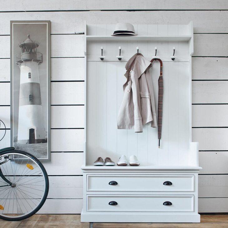 Прихожая Portland, белого цвета | Мебель Kingsby