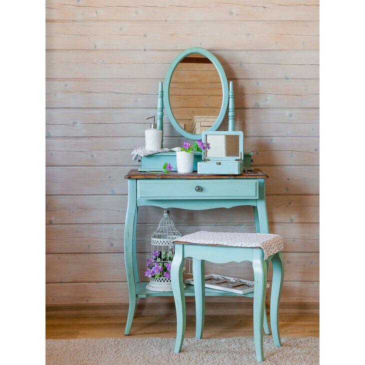 Туалетный столик Leontina с овальным зеркалом, голубого цвета | Туалетные столики Kingsby