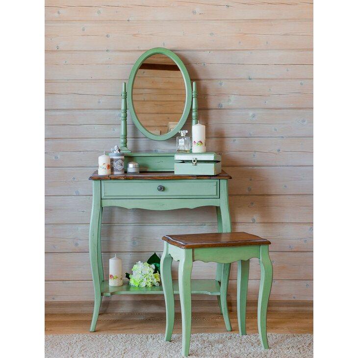 Туалетный столик Leontina с овальным зеркалом, зеленого цвета | Туалетные столики Kingsby
