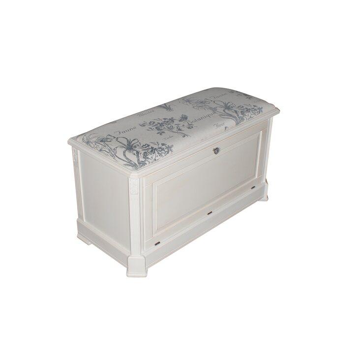 Сундук-пуфик с мягким сиденьем с гобеленовой тканью, белого цвета | Пуфы Kingsby