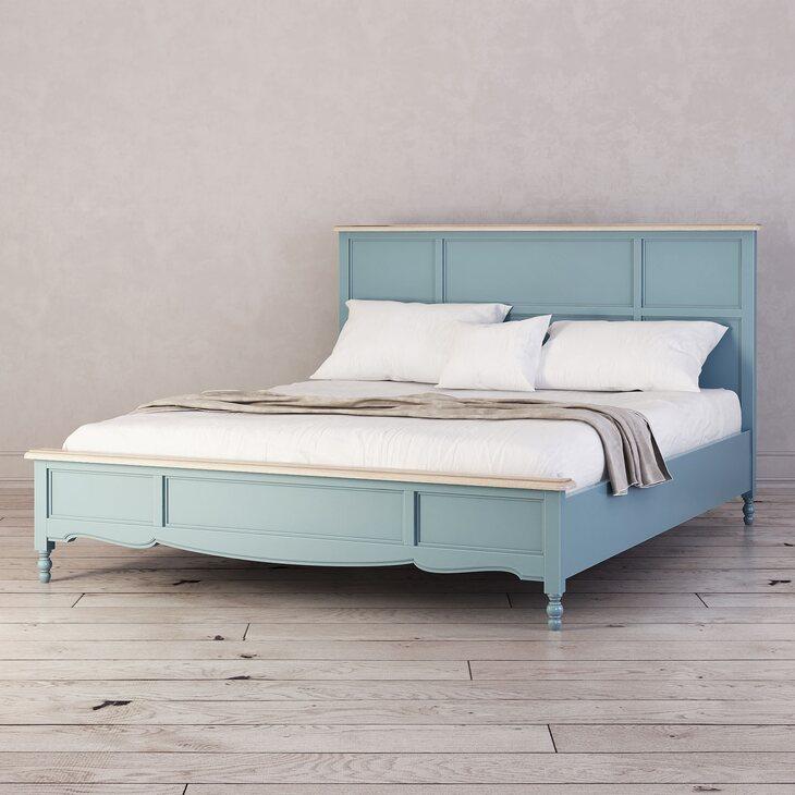 Кровать Leblanc двуспальная, голубая | Двуспальные кровати Kingsby