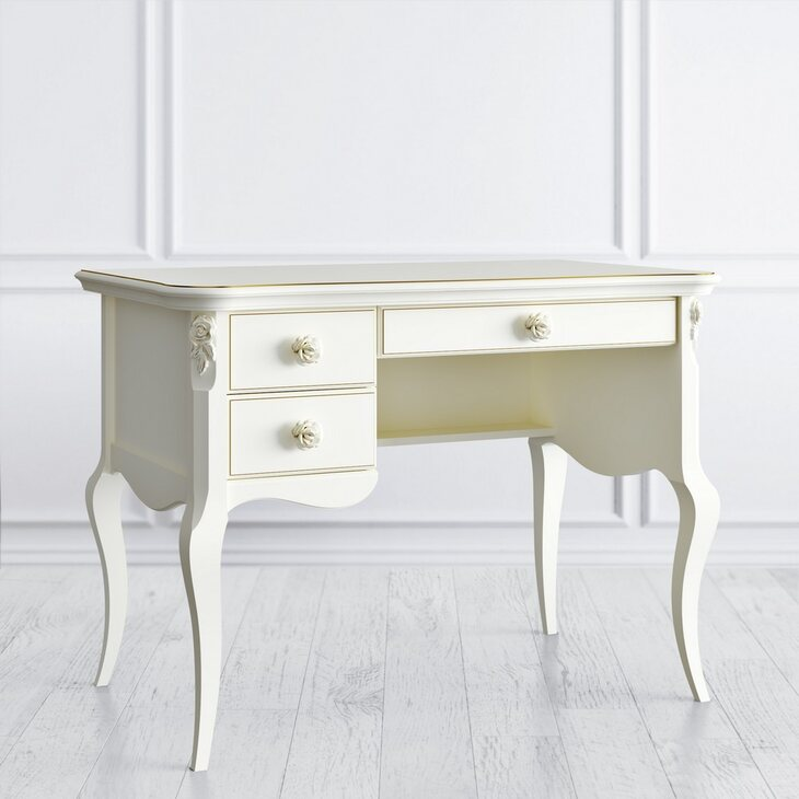 Стол кабинетный пристенный L Golden Rose, цвета слоновая кость | Письменные столы Kingsby