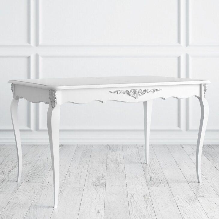 Стол обеденный раскладной Silvery Rome, белого цвета | Обеденные столы Kingsby
