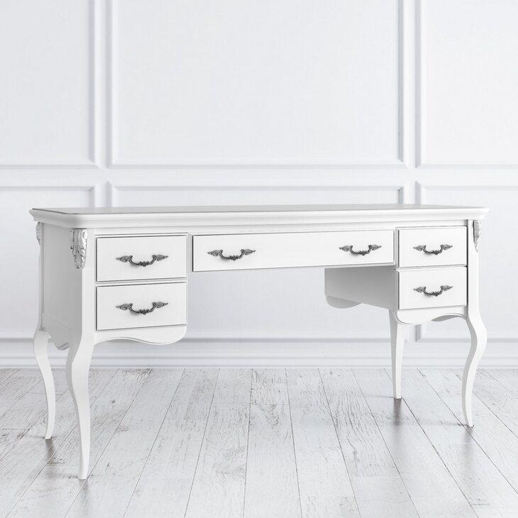 Кабинетный стол широкий Silvery Rome, белого цвета | Письменные столы Kingsby