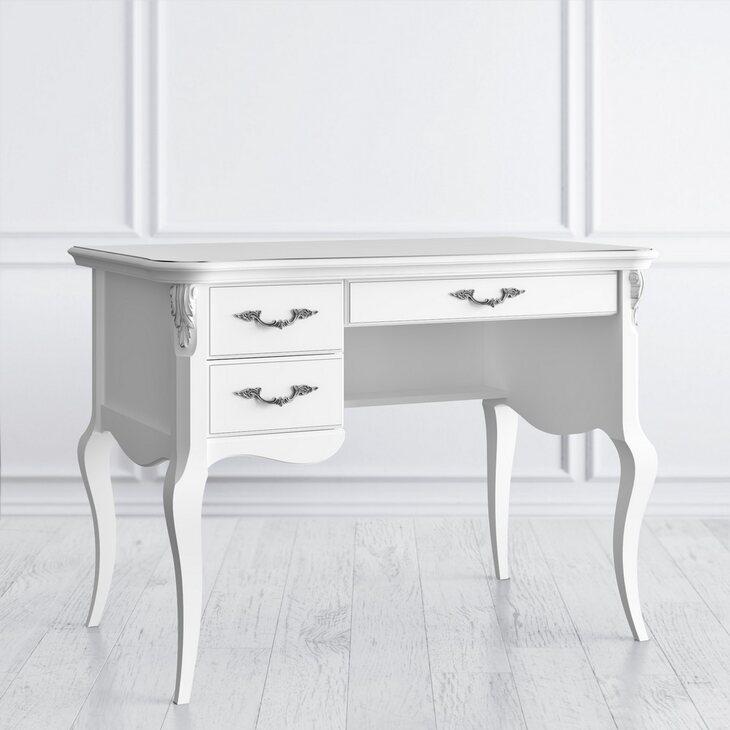 Стол кабинетный пристенный L Silvery Rome, белого цвета | Письменные столы Kingsby