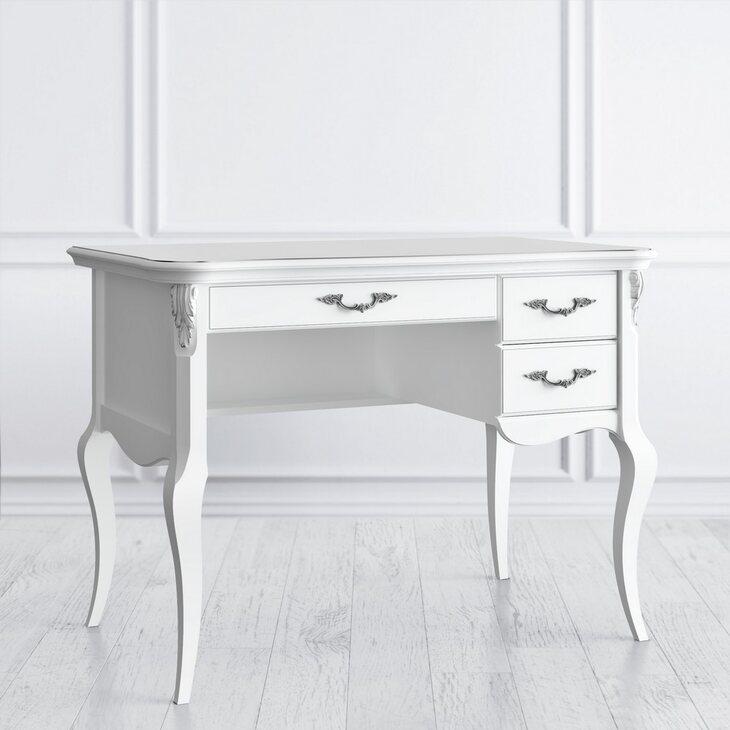Стол кабинетный пристенный R Silvery Rome, белого цвета | Письменные столы Kingsby
