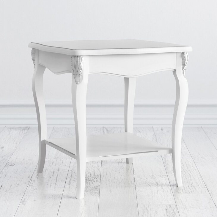 Столик квадратный Silvery Rome, белого цвета | Журнальные столики Kingsby