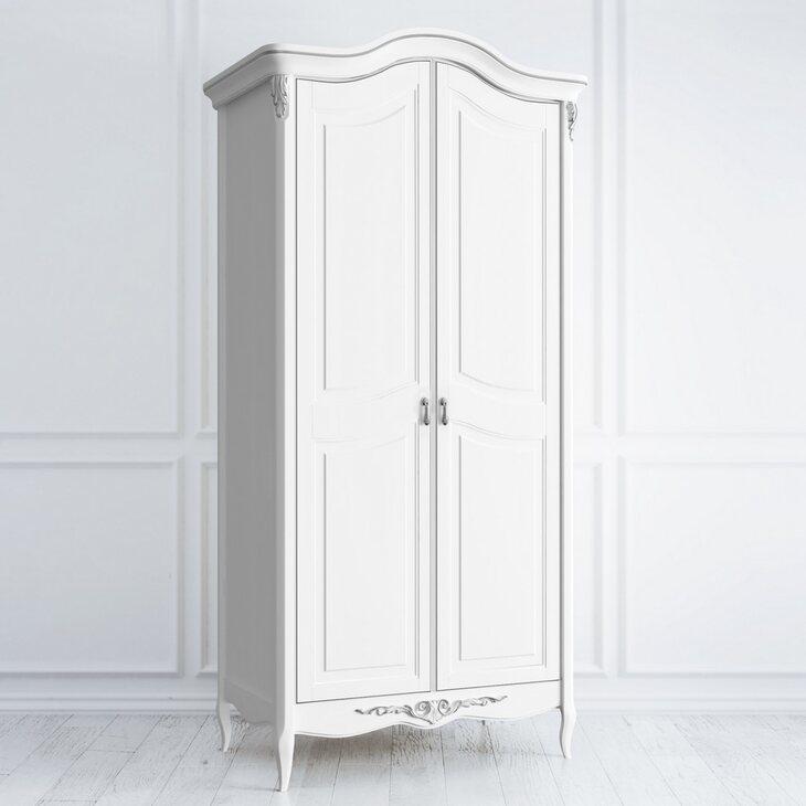 Шкаф двухстворчатый Silvery Rome, белого цвета   Платяные шкафы Kingsby