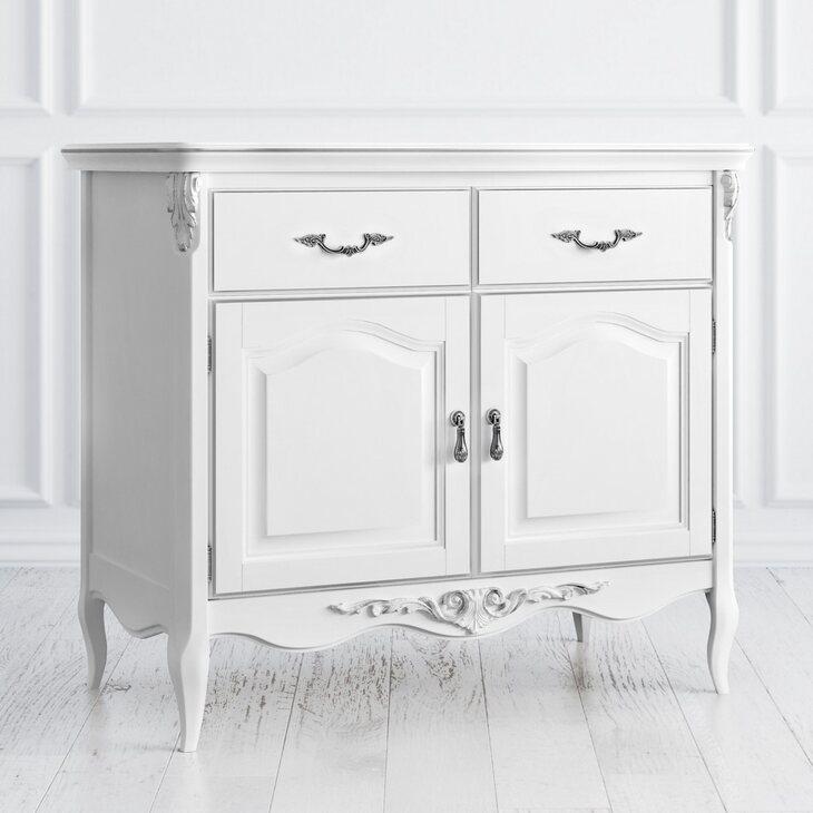 Буфет двухстворчатый с 2-я ящиками Silvery Rome, белого цвета | Буфеты Kingsby