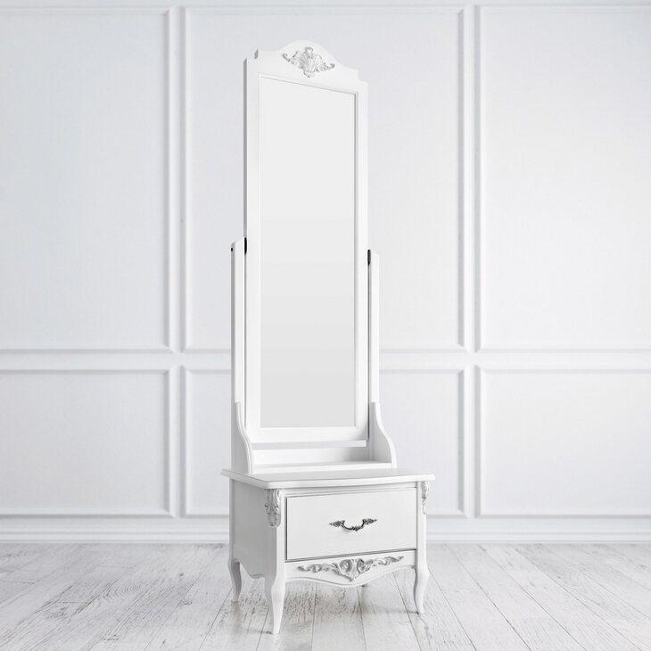 Напольное зеркало Silvery Rome, белого цвета | Прямоугольные зеркала Kingsby