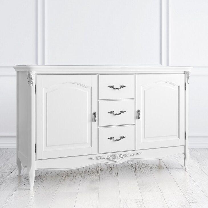 Буфет двухстворчатый с 3-я ящиками Silvery Rome, белого цвета | Буфеты Kingsby