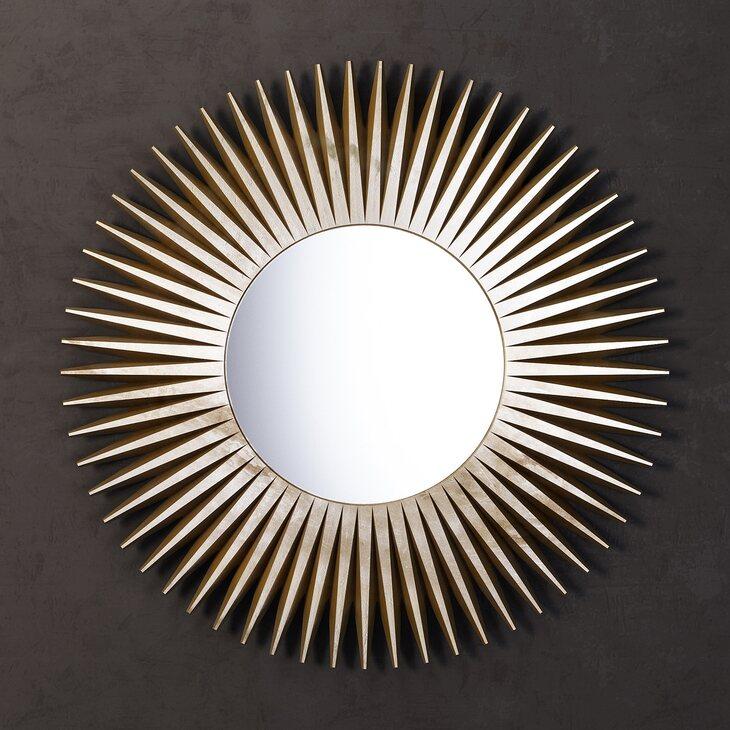 Зеркало-солнце Rays, золотое | Настенные зеркала Kingsby