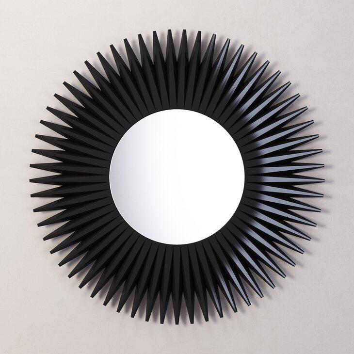Зеркало-солнце Rays, черное | Настенные зеркала Kingsby