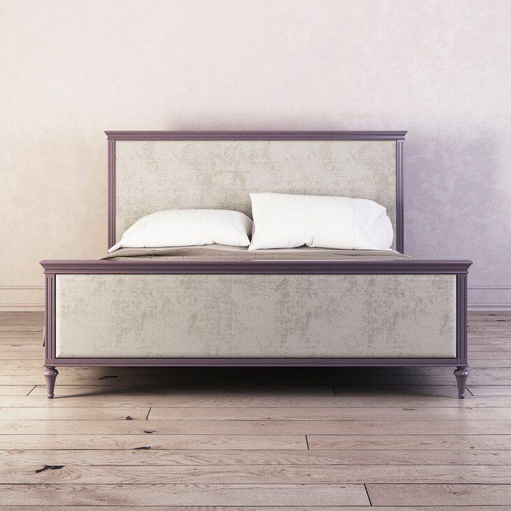 Кровать с мягким изголовьем 180*200 Riverdi, орхидея, с изножьем | Двуспальные кровати Kingsby