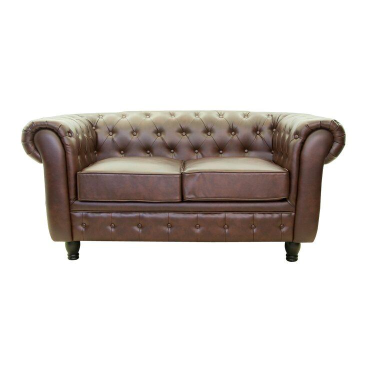 Кожаный диван двухместный Chesterfield brown 2S | Прямые диваны Kingsby