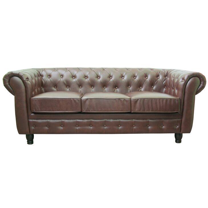 Кожаный трехместный диван Chesterfield brown 3S | Прямые диваны Kingsby