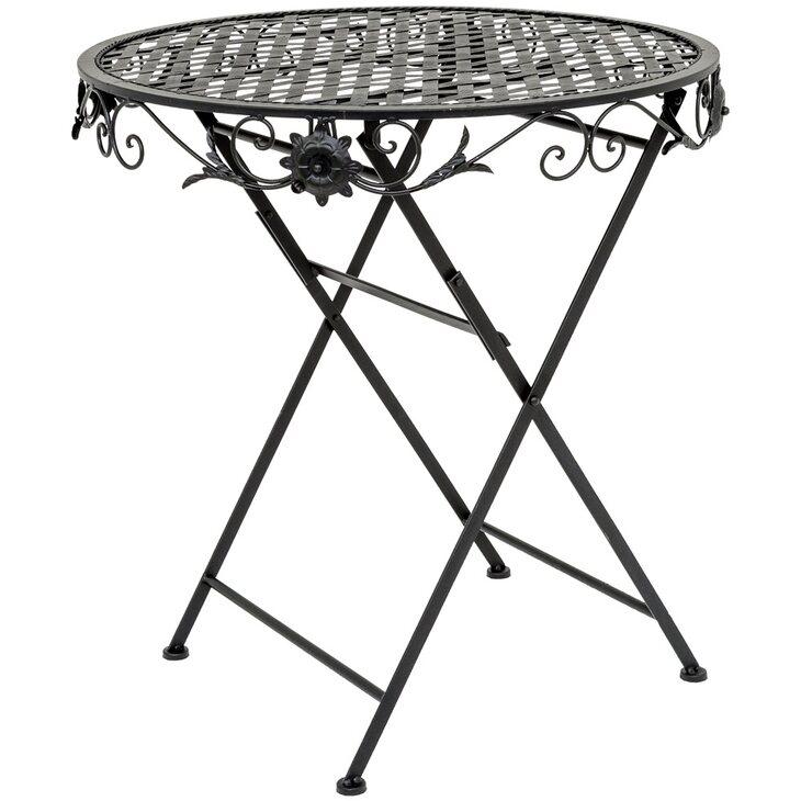 Складной столик для завтрака «Ницца» (черный антик) | Кофейные столики Kingsby